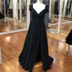 Black bridesmaid dress with ruffled shoulders